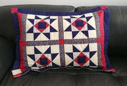 """Ohio Star Fully Hand-Quilted Standard Sham 21""""x27"""""""
