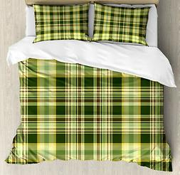 Olive Green Duvet Cover Set with Pillow Shams Scottish Quilt