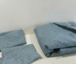 Oversized Quilt Coverlet Bed Set - Full or Queen, Spa Blue F