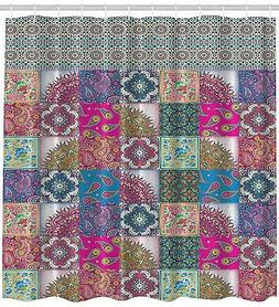 Paisley Mandala Patchwork Quilt Look Background Shower Curta