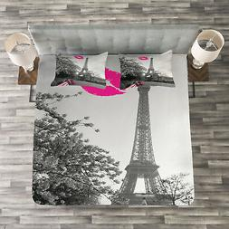 Paris Quilted Bedspread & Pillow Shams Set, Romantic City an