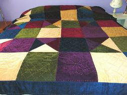 GREENLAND HOME FASHIONS POLYESTER QUILT VELOUR PATCHWORK MUL