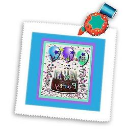 3dRose qs_20218_2 Birthday Party Cake 90th Quilt Square, 6 b