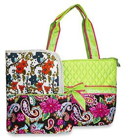 Rosenblue Floral Quilted Diaper Bag