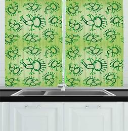 Retro Bohemian Kitchen Curtains 2 Panel Set Window Drapes 55