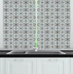 Retro Geometric Kitchen Curtains 2 Panel Set Window Drapes 5