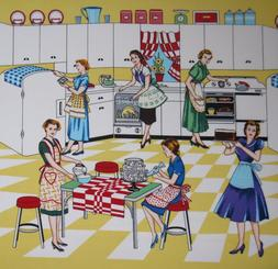 Michael Miller Retro Kitchen  fabric HOME EC, sold by the ya