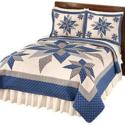 Collections Etc Reversible Navy Star Patchwork Quilt NAVY KI