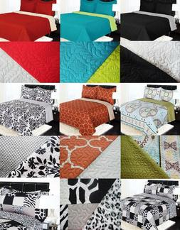 reversible solid printed quilt bedding bedspread coverlet