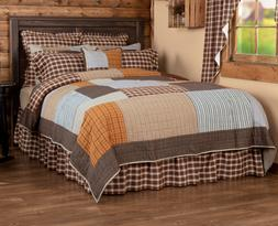RORY QUILT SET-choose size & accessories-Plaid Brown Greige
