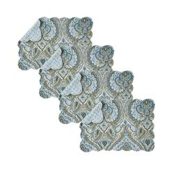 Set of 4 AMHERST BLUE Quilted Reversible Placemat by C&F - N