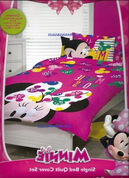 SINGLE BED DISNEY MINNIE MOUSE PINK GIRLS QUILT DOONA COVER