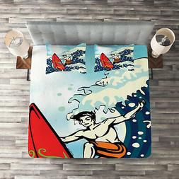 Surf Quilted Coverlet & Pillow Shams Set, Man Surfing in the