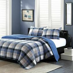 Traditional Blue & Khaki Plaid Quilted Coverlet AND Decorati