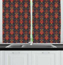 "Turkish Kitchen Curtains 2 Panel Set Window Drapes 55"" X 39"""
