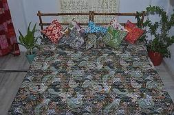 Twin black tropical Paisley Quilt. Kantha Bedspread, comfort