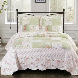 Upland Quilted Floral Patchwork Printed 3 Piece Coverlet Set