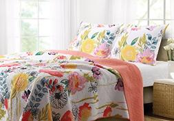Greenland Home Watercolor Dream Quilt Set, King, White