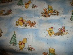 Disney Winnie the Pooh Christmas Vtg. Fabric 1 yd. Laundered
